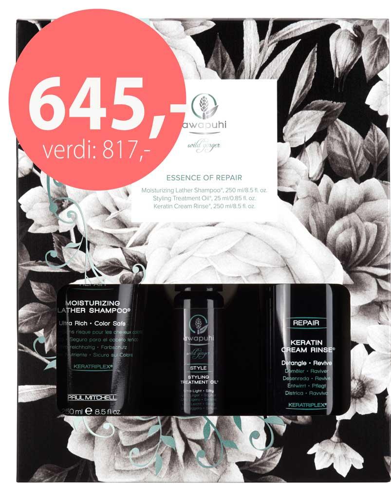 Julegavesett fra Awapuhi - Shampoo, Cream Rinse og Styling Treatment - kun 645,-