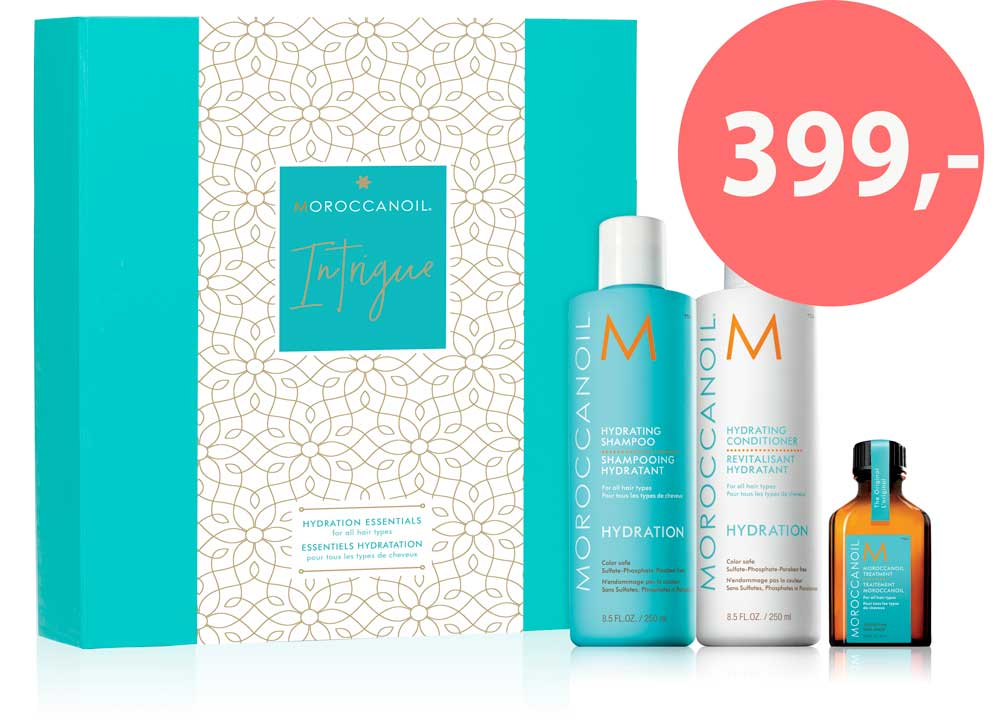 Julegavesett fra Moroccanoil - Hydrating shampoo og conditioner pluss treatment light - kun 399,-